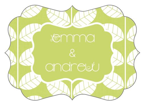 Custom Made Custom Wedding Stickers Die Cut - Ornate Garden Leaf - Guest Bag Labels