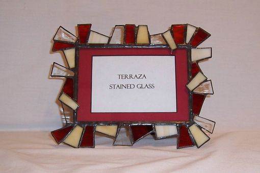 Custom Made Chunky Stained Glass Picture Frame 5 X 7 / Red And Beige (F-5)