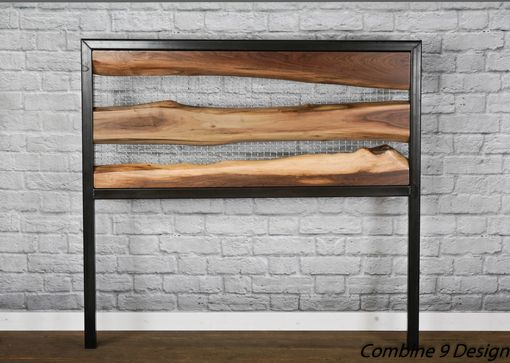 Custom Made Live Edge Headboard. Rustic Walnut Headboard. Raw Steel. Solid Wood.