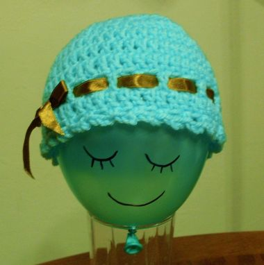 Custom Made Lovely Crochet Blue Turquoise Cloche/Beanie With Brown Satin Ribbon And Bow -Newborn To 6 Months