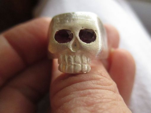Custom Made Large Hand Carved Skull With Gems
