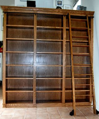 Custom Made Bookcase With Rolling Ladder
