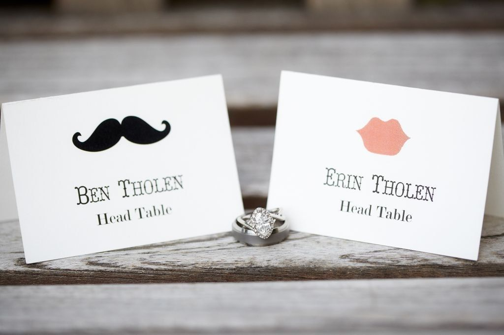 hand made custom wedding place cards mustache and lips design personalized escort card by invitation to shine custommadecom - Table Place Cards