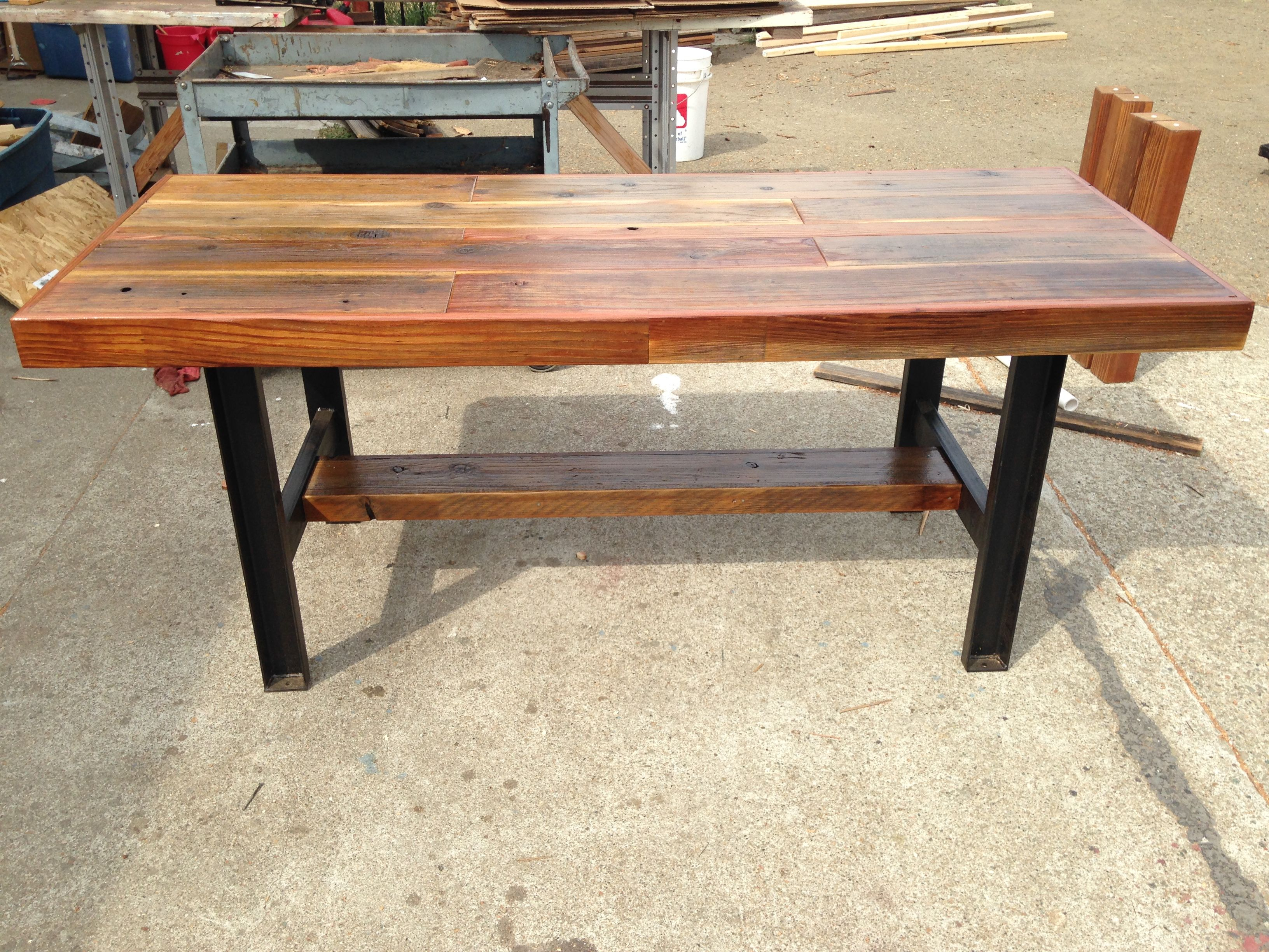 Hand Made Reclaimed Wood Table With Industrial Metal Legs ...