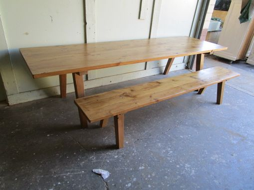 Custom Made Dining Table And Bench Made From Reclaimed Wood In The Usa