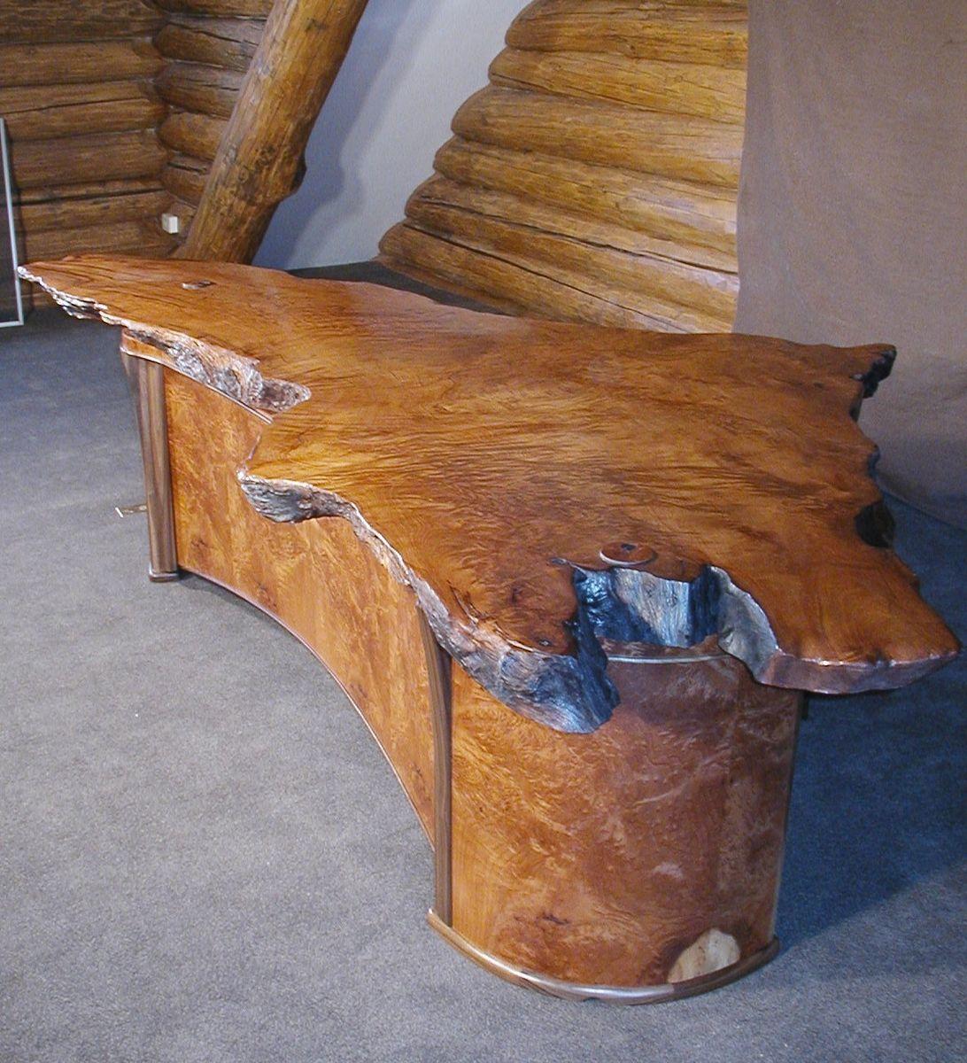 Custom executive desks - Custom Made Live Edge 2 Person Redwood Burl Executive Desk