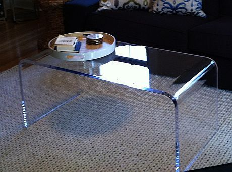 "Custom Made Acrylic Coffee Table 36"" X 18"" X 18"" 3/4"" Clear"