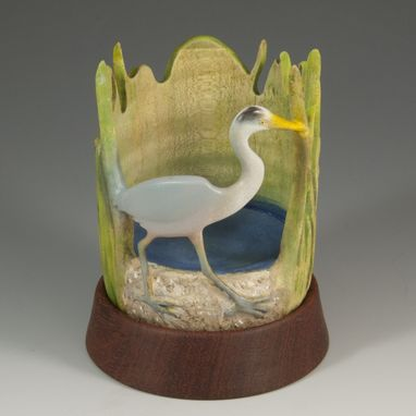 Custom Made Woodturned And Carved Great Blue Heron