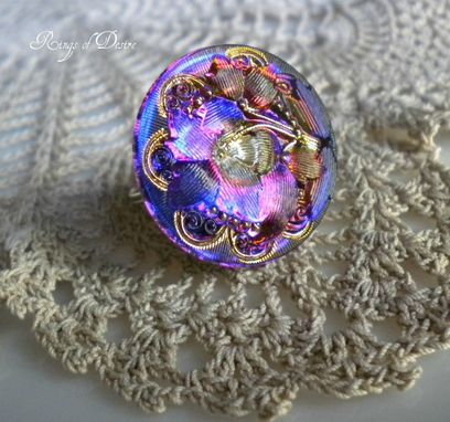 Custom Made Sold Out Ring Czech Glass Button  Purple,  Cobalt Blue, Gold And Silver Wire-Wrapped Ring