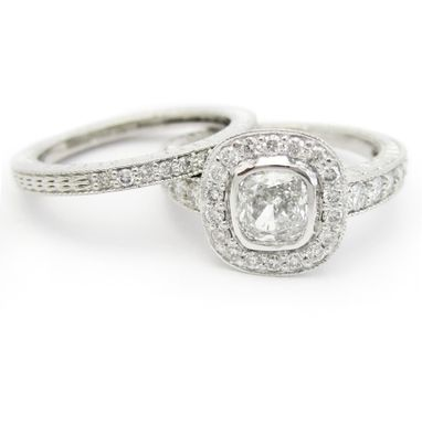 Custom Made Engaement Ring- Cushion Cut Prong Set Ring & Band