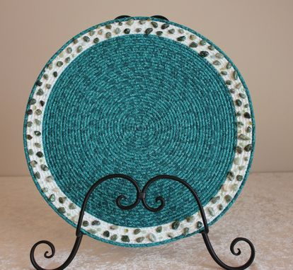 Custom Made Table Center Piece - Table Topper - Fabric Art - Fabric Wrapped Clothesline. Pebble Accent