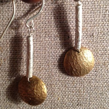 Custom Made Silver And Bronze Disc Earrings