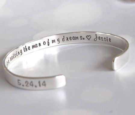 Custom Made Custom Sterling Silver Cuff Bracelet, 1/4 Inches Wide, Personalized Bracelet