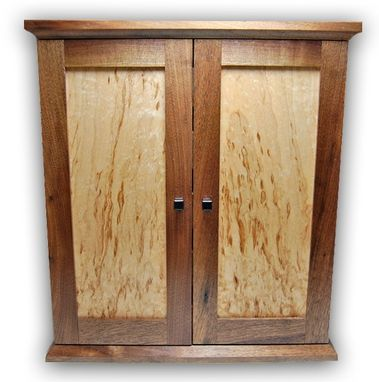 Custom Made Jewelry Chest/Armoire - Walnut And Figured Maple
