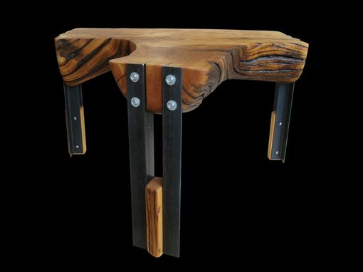 Custom Made River Washed Cedar And Steel Table