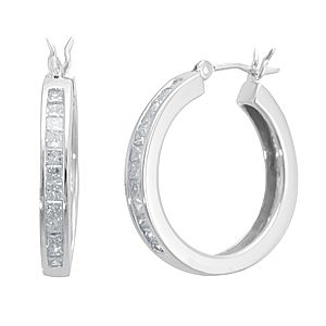 Custom Made Princess Diamond Hoop Earrings In 14k White Gold, Ladies Earrings, Hoop Earrings