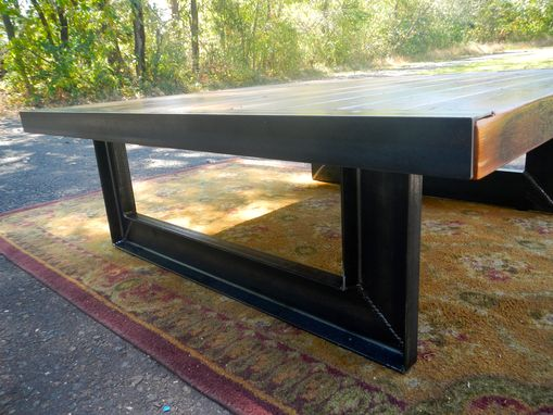 Custom Made Reclaimed Wood And Welded Steel Coffee Table