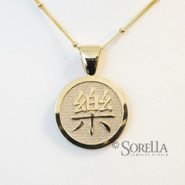 Custom Made Personalized Round Chinese Symbol Pendant In Sterling Silver