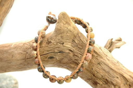 Custom Made Jasper And Leather Cord Bracelet
