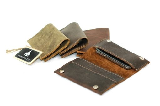 Custom Made Snap Distressed Leather Smart Phone Wallet