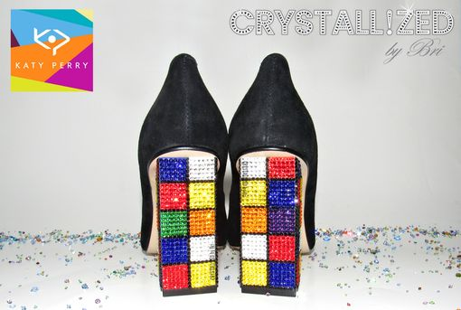 "Custom Made Crystallized Katy Perry Rubik's Cube Heels ""The Caitlin"" Made With Swarovski Crystals"