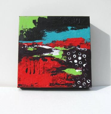 "Custom Made Red Abstract Painting, ""Touch Of Turquoise"" Original Acrylics"
