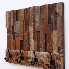 Reclaimed Wood Art Coat Rack 24x18 5x4