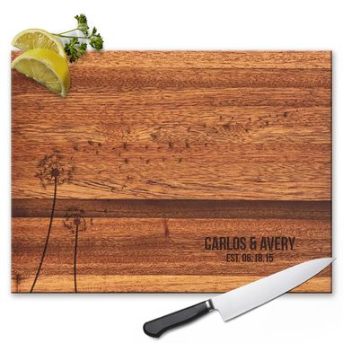 Custom Made Engraved Cutting Board Personalized Wedding Gift Dandelion Design