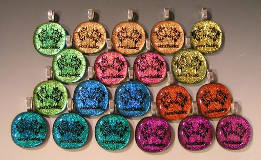Custom Made Bulk Order Glass Pendants Laser Etched Dichroic Glass
