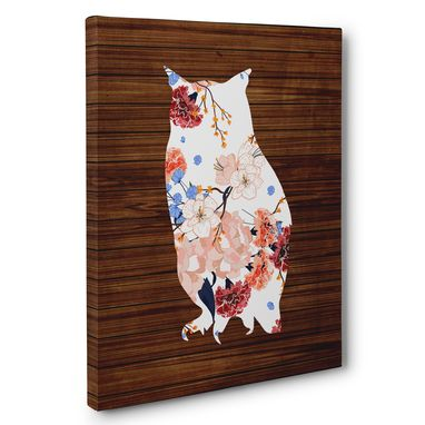 Custom Made Owl Wood And Flowers Canvas Wall Art