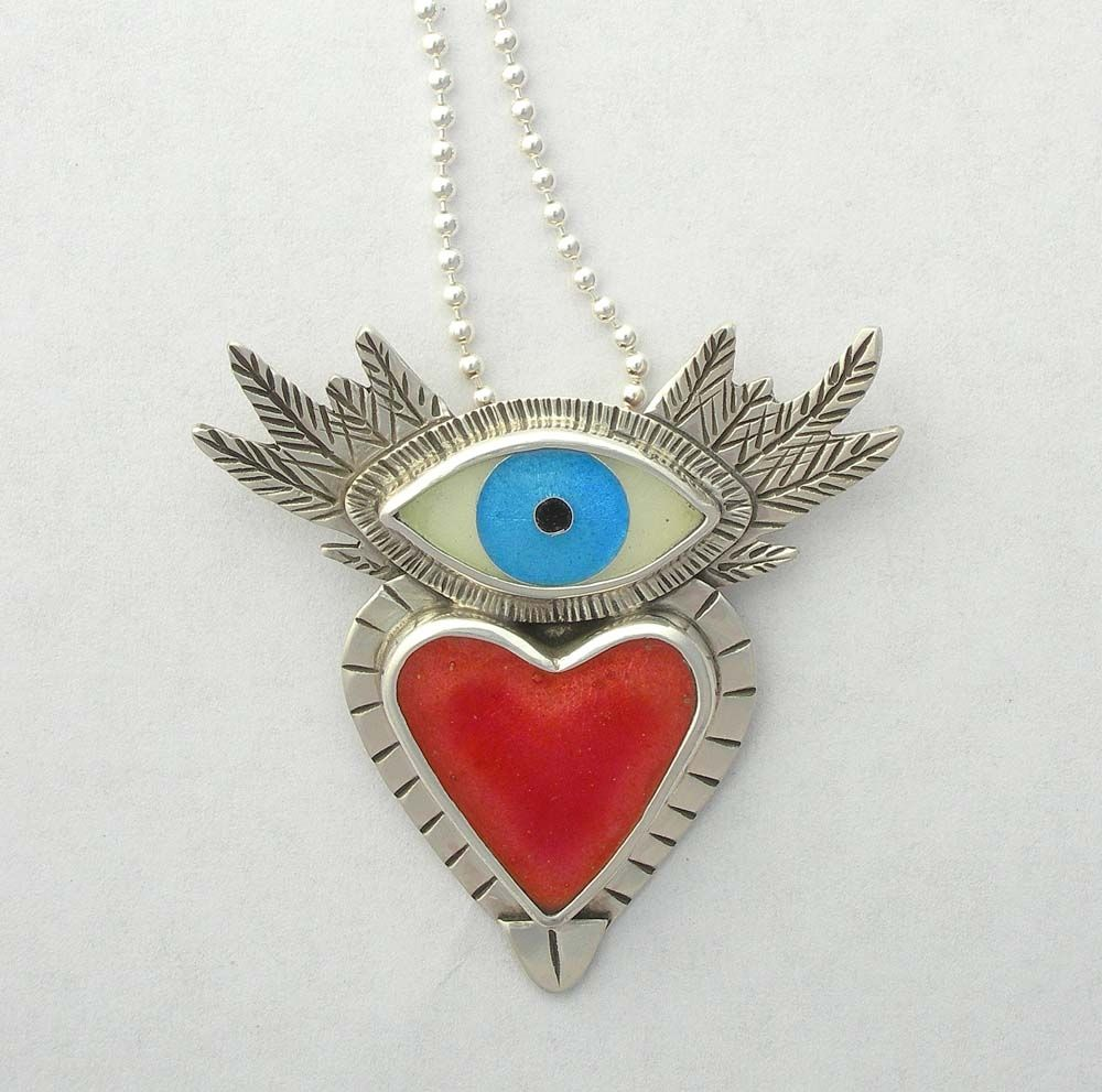 Handmade Flying Heart Necklace Sufi Heart Necklace Cloisonne