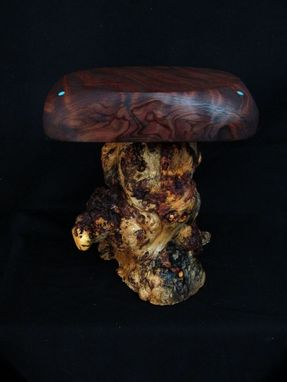 Custom Made Inlaid Curly Redwood Display Table Pedestal