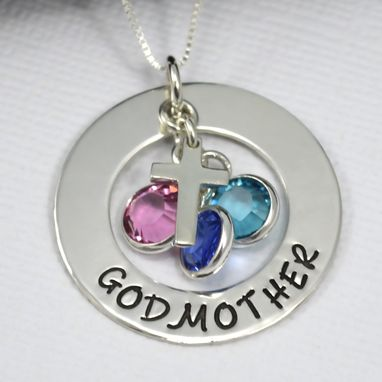 Custom Made Godmother Necklace With Cross And Birthstones