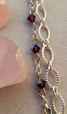 Custom Made Sweet Nectar: Hummingbird Charm And Amethyst Crystal Necklace
