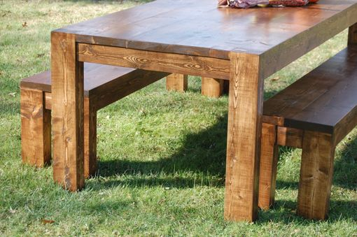 Custom Made Modern Rustic Farmhouse Dining Room Table And Bench Set