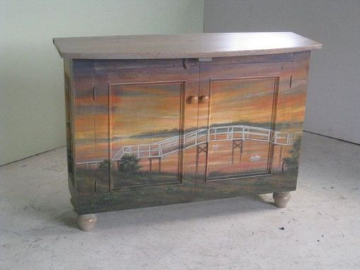 Custom Made Server With Hand Painted Lake Scene