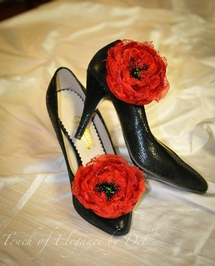 Custom Made Shoe Clips / Shoe Accessories / Bridal Shoe Clip / Bridesmaids Shoe Clip - Red Flower Shoe Clip