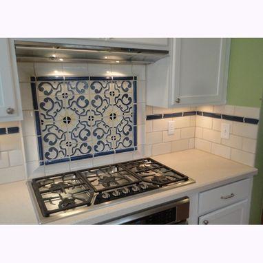 Kitchen Backsplash Centerpiece custom stoneware tile backsplash with blue & gold centerpiece