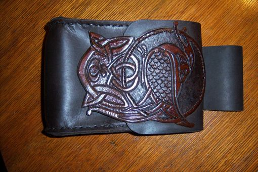 Custom Made Bag With Celtic Knot Bird Crane Image Carved In.