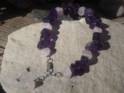 Custom Made Genuine Amethyst And Rose Quartz Bracelet