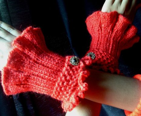Custom Made Retro-Victorian Ruffled Knit Cuffs In Red