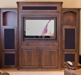 Custom Made Reversica Entertainment Center Located In Sacramento, California.