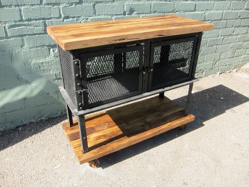 Custom Made Reclaimed Wood And Iron Mesh Cabinet On Wheels
