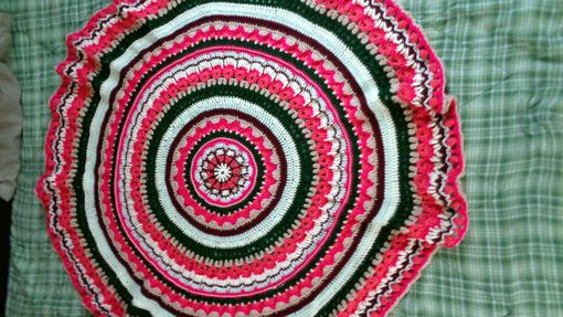 Custom Made Large Circular Mandala Afghan Blanket Throw Home Decor Handmade Gift For Her