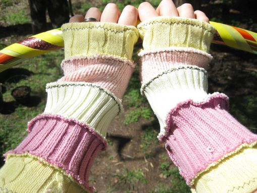 Custom Made Upcycled Fluttershy Arm Warmers - Fingerless, White, Purple, Hoop Clothes
