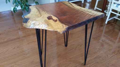 Custom Made Live Edge Redwood Desk With Hairpin Legs