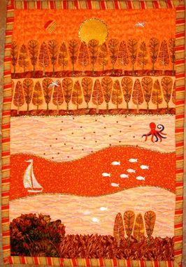 "Custom Made Quilted Landscape Wall Hanging - ""Autumn"""