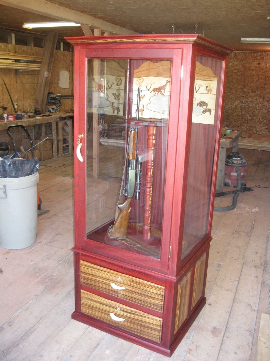 Hand Made Exotic Wood Gun Cabinet By Ore Dock Design