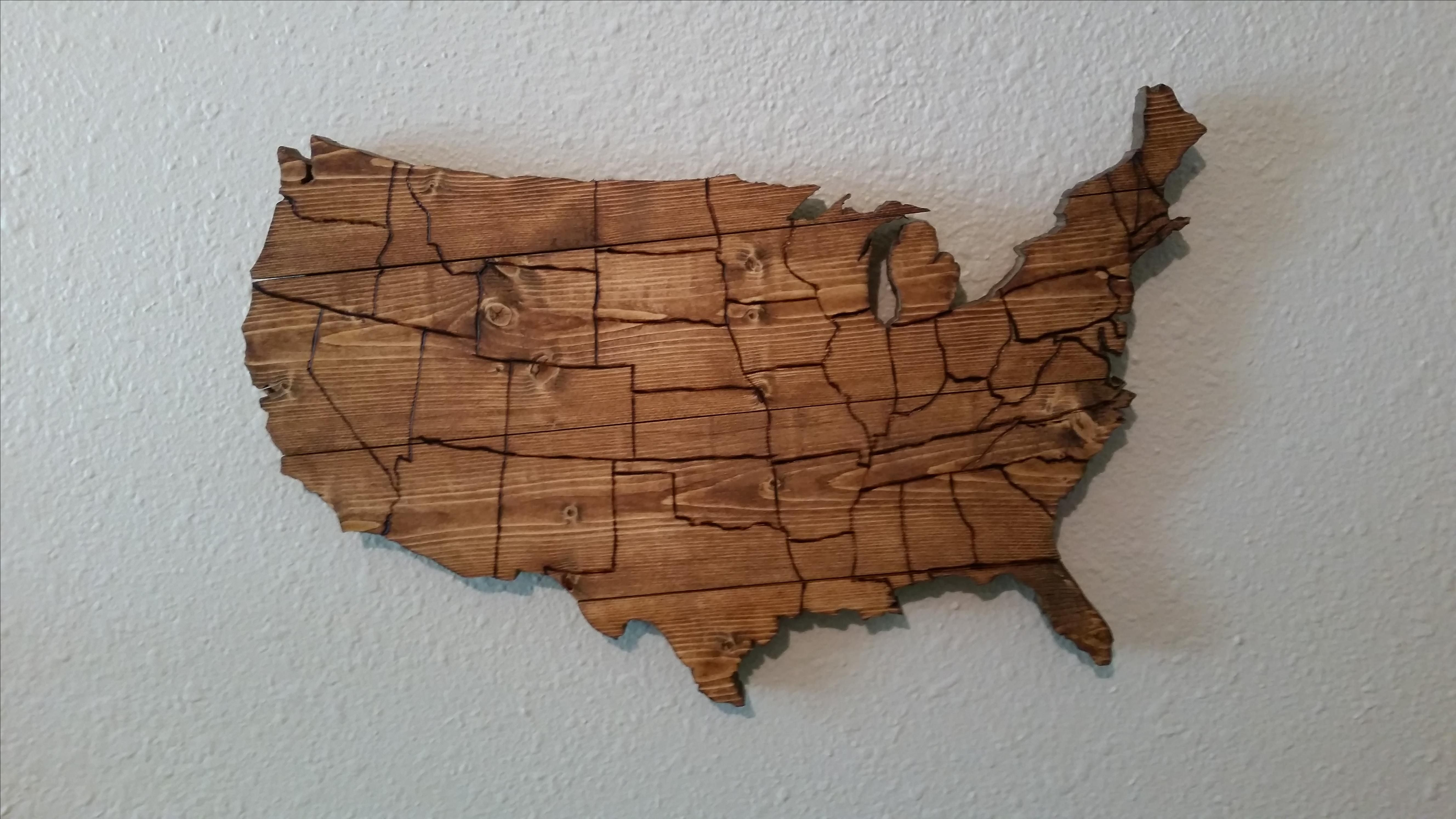 Hand Made Usa Map Wooden Wall Art By Compass Woodworking