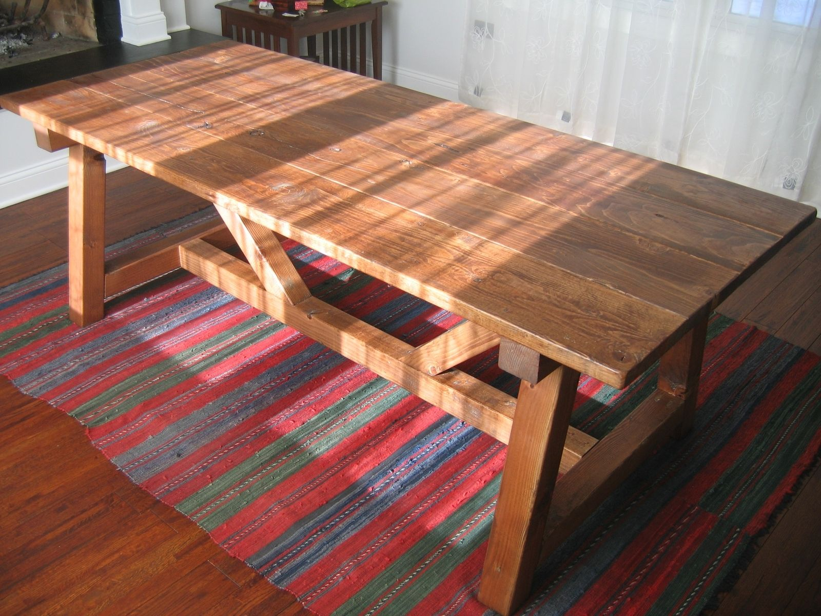 Hand Made Trestle Farmhouse Table Reclaimed Wood Farmhouse Dining